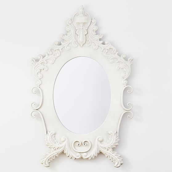 The Emily & Meritt Antiqued Ornate Mirror Antique White Pottery Barn Teen collection