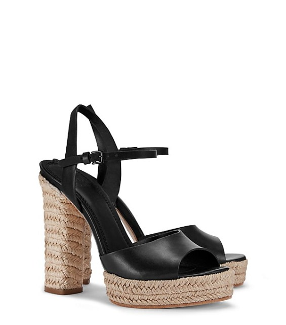 candace rose Tory Burch SOLANA PLATFORM ESPADRILLE SANDAL Black tory burch private sale candie anderson