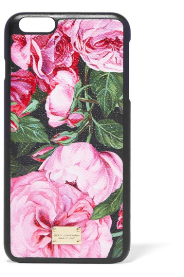 DOLCE & GABBANA Floral Printed Pink Roses textured-leather iPhone 6 Plus case trendy iPhone 6s plus cases fall 2016