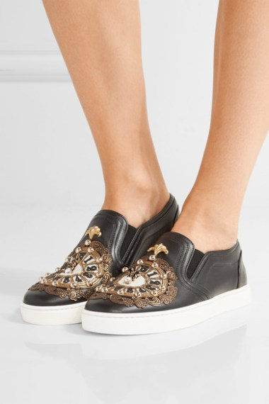 DOLCE & GABBANA Embellished leather slip-on sneakers black leather
