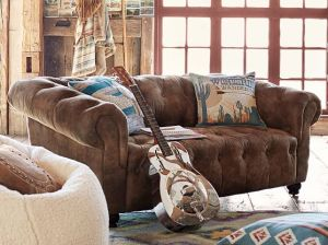 Junk Gypsy Saddle Leather Button Tufted Chesterfield Loveseat Pottery Barn Teen seating sale
