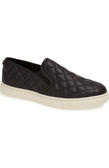 Steve Madden 'Ecentrcq' Sneaker (Women) Black Faux Leather Quilted slip-on sneakers fall 2016