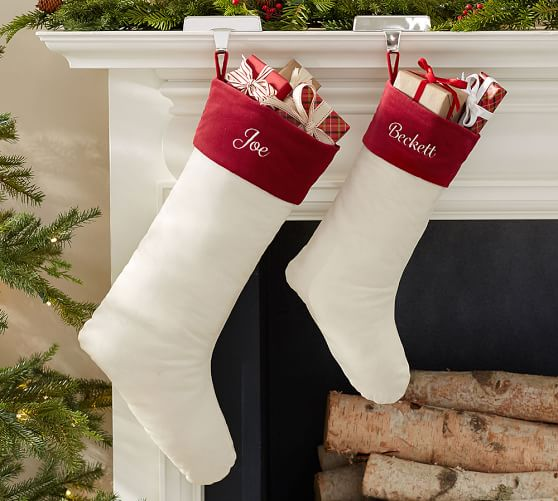 Pottery Barn VELVET STOCKING - IVORY WITH RED CUFF pottery barn flash sale
