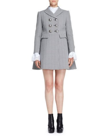 Alexander McQueen Double-Breasted Houndstooth Coat, Black/White