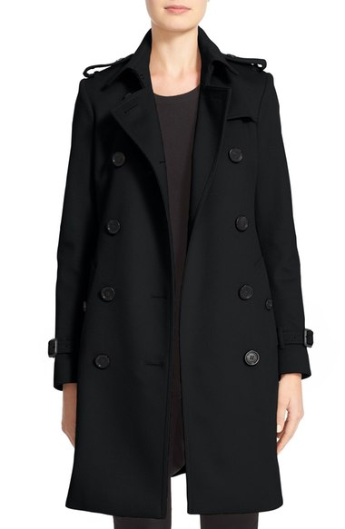 Burberry Kensington Double Breasted Wool & Cashmere Trench Coat Black