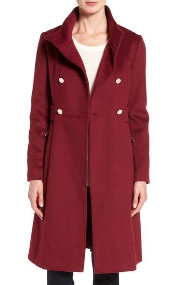 Eliza J Wool Blend Long Military Coat (Regular & Petite) Cranberry double breasted coats