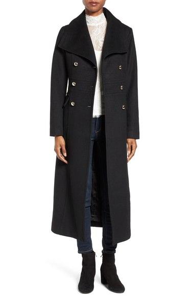 Eliza J Wool Blend Military Long Coat Black double breasted coats