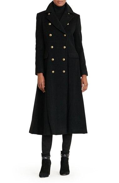 Lauren Ralph Lauren Double Breasted Military Maxi Coat Black double breasted coats winter