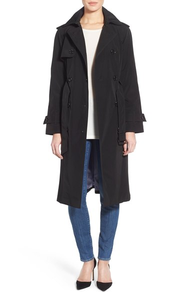 London Fog Double Breasted Trench Coat (Regular & Petite) Black double breasted coats