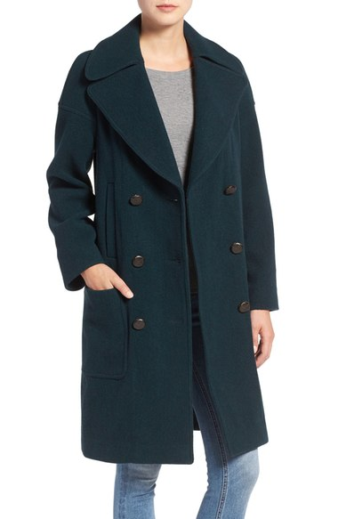 M.i.h. Jeans 'Richards' Double Breasted Wool Blend Coat Bottle Green double breasted coats