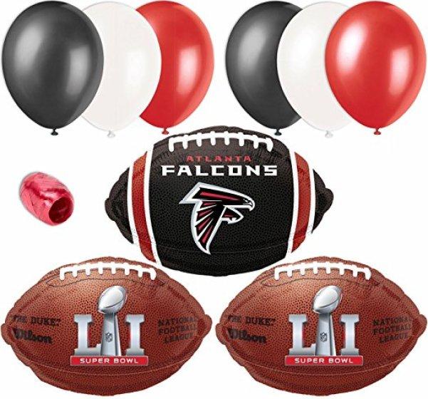 NFL Atlanta Falcons Super Bowl 51 Team Pack 10pc Balloon Pack, Red Black White