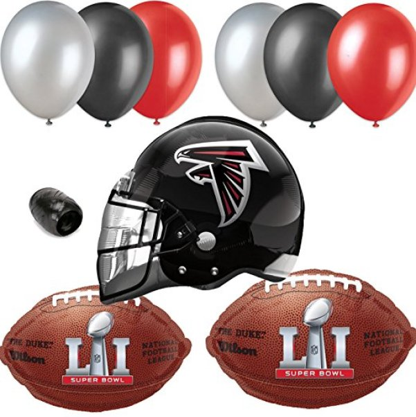 NFL Atlanta Falcons Super Bowl 51 Team Pack 10pc Balloon Pack, Red Black White atlanta falcons super bowl li party