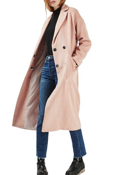 Topshop Longline Slouch Coat Pink double breasted coats