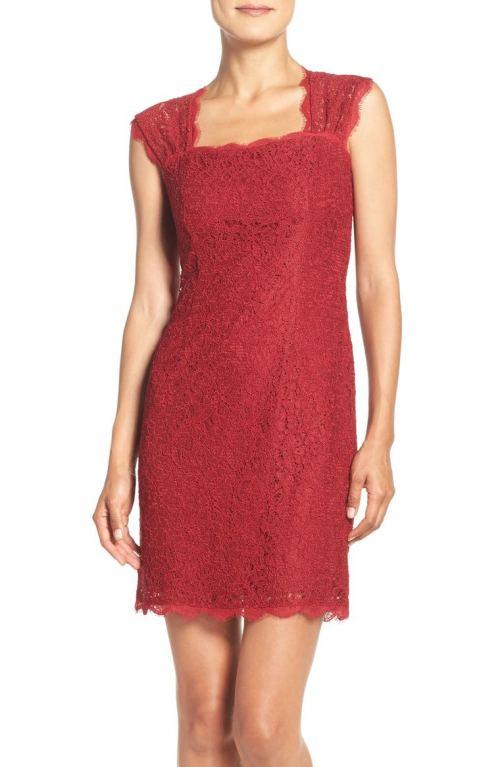 Adrianna Papell Lace Sheath Dress (Regular & Petite) Crimson Nordstrom Winter Sale