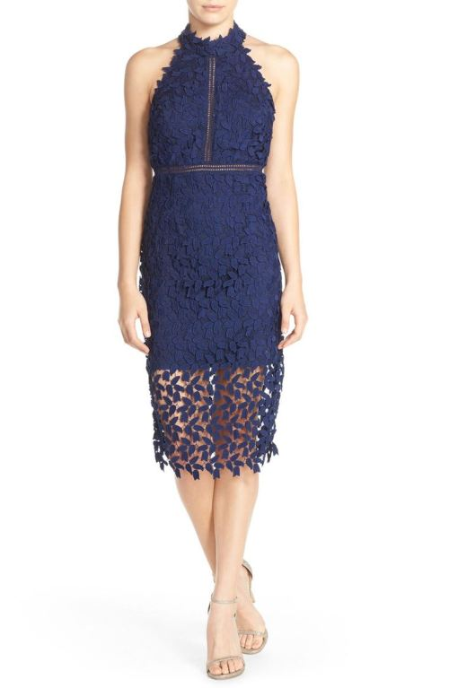 Bardot 'Gemma' Halter Lace Sheath Dress Blue Ink 2017 Nordstrom winter sale