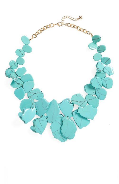 BaubleBar 'Seaglass' Bib Necklace Turquoise 2017 Nordstrom winter sale