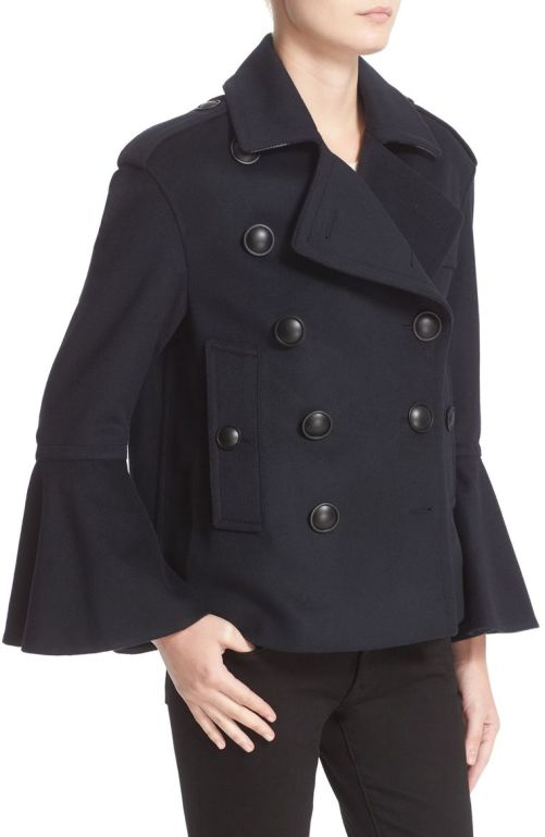Burberry Juliette Townhill Double Breasted Peacoat Navy Blue nordstrom winter sale