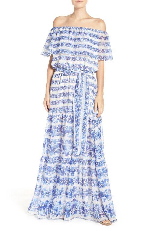 Eliza J Blouson Maxi Dress Ivory Blue 2017 nordstrom winter sale