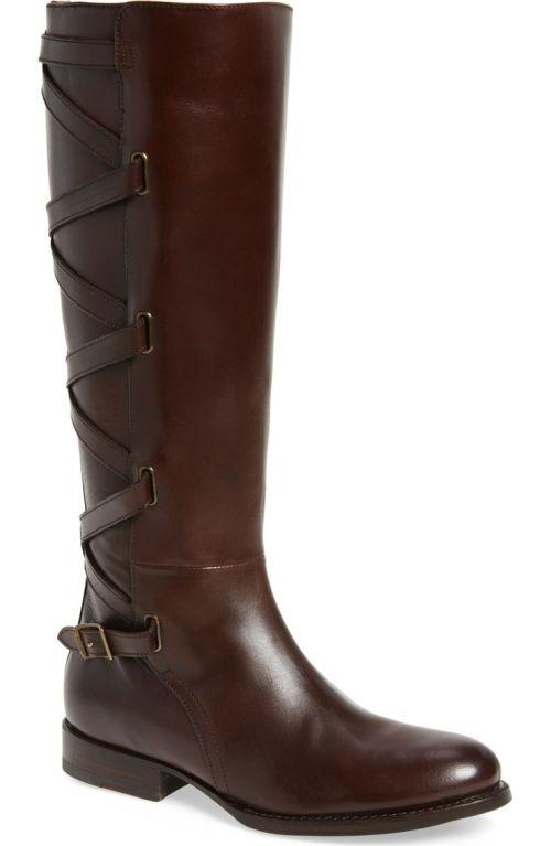 Frye Jordan Strappy Knee High Boot (Women) Dark Brown Nordstrom winter sale