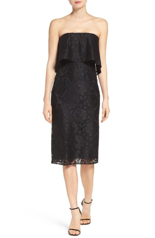 LIKELY Driggs Ruffle Strapless Lace Dress Black 2017 Nordstrom winter sale