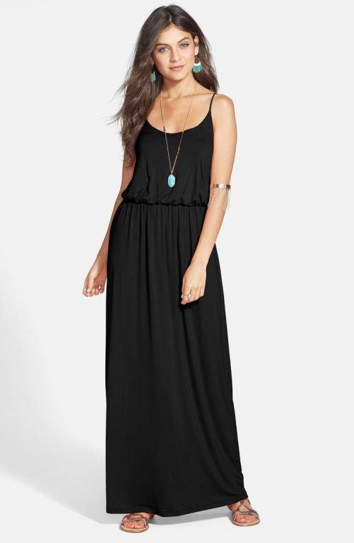 Lush Knit Maxi Dress Black nordstrom winter sale