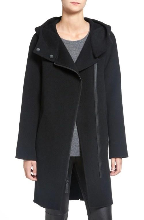 Mackage Asymmetrical Zip Wool Coat Black 2017 Nordstrom Winter Sale