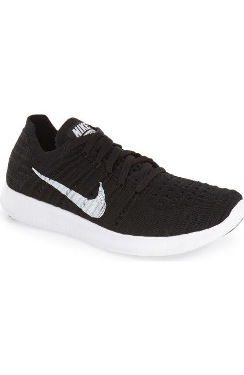 Nike 'Free Flyknit' Running Shoe (Women) Black White 2017 Nordstrom winter sale