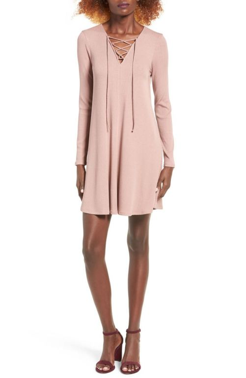 One Clothing Rib Knit Lace-Up Swing Dress Tan 2017 Nordstrom winter sale