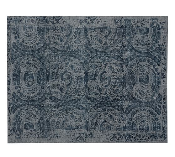 Pottery Barn Bosworth Printed Wool Rug - Blue 2017 pottery barn presidents day premier event sale