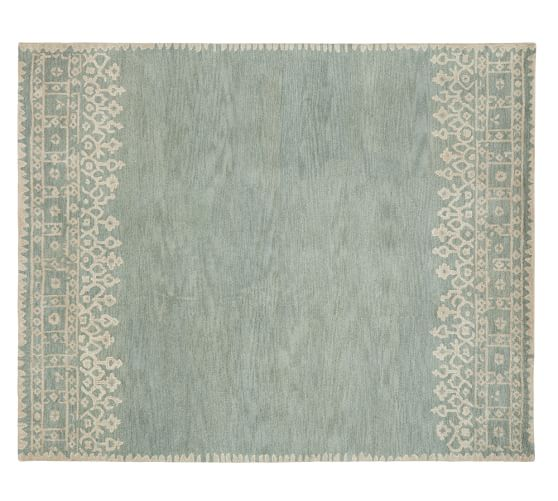 Pottery Barn DESA BORDERED WOOL RUG - BLUE pottery barn friends and family sale