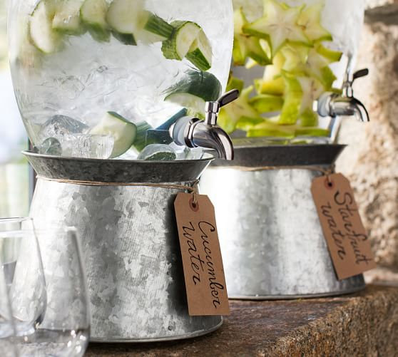 Pottery Barn GALVANIZED METAL DRINK DISPENSER STAND pottery barn friends and family sale