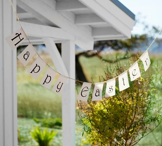 Pottery Barn HAPPY EASTER BANNER burlap pottery barn friends and family sale