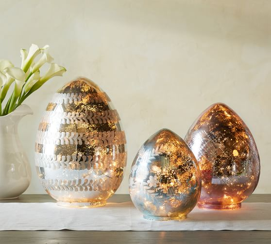 Pottery Barn LIT ETCHED MERCURY EGGS Large Silver pottery barn friends and family sale