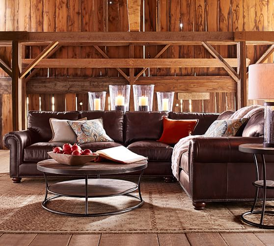 Pottery Barn WEBSTER LEATHER 3-PIECE SECTIONAL WITH CORNER (Right Arm 3-Piece Corner Sectional) pottery barn presidents day premier event sale