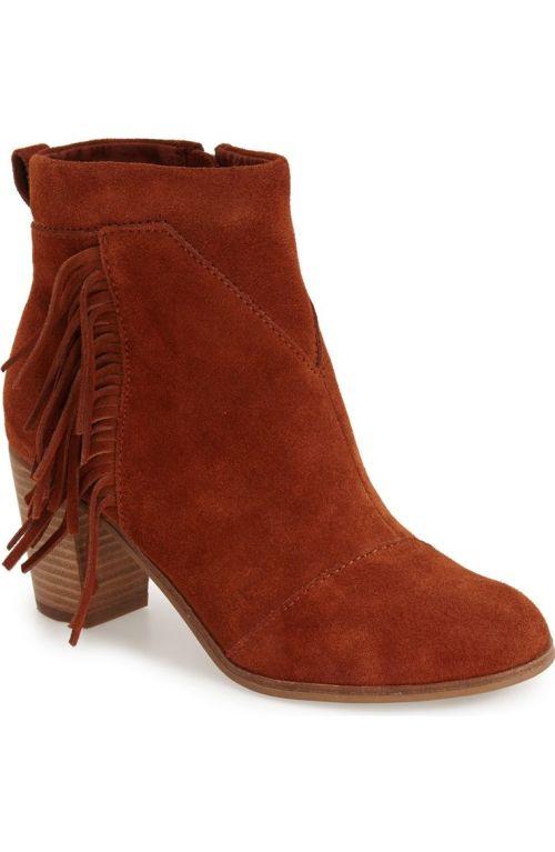 TOMS Lunata Suede Bootie (Women) Medium Brown Nordstrom winter sale