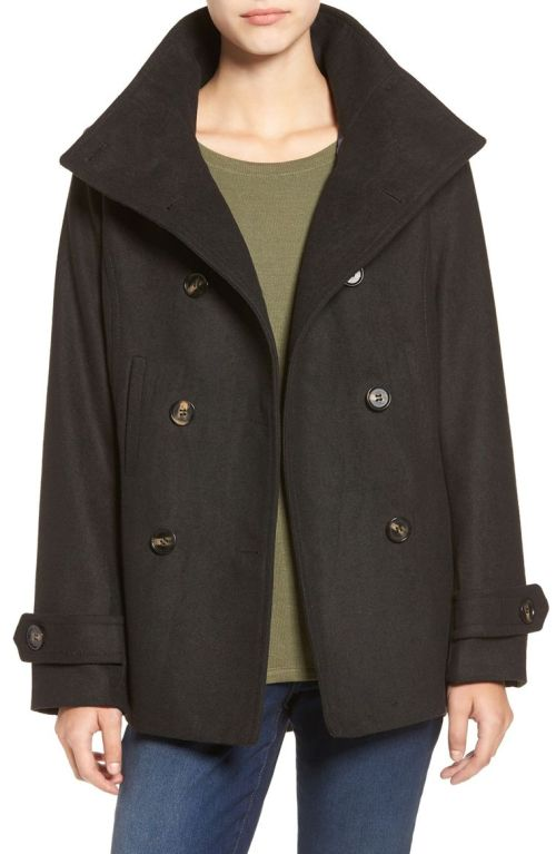 Thread & Supply Double Breasted Peacoat Black 2017 Nordstrom winter sale