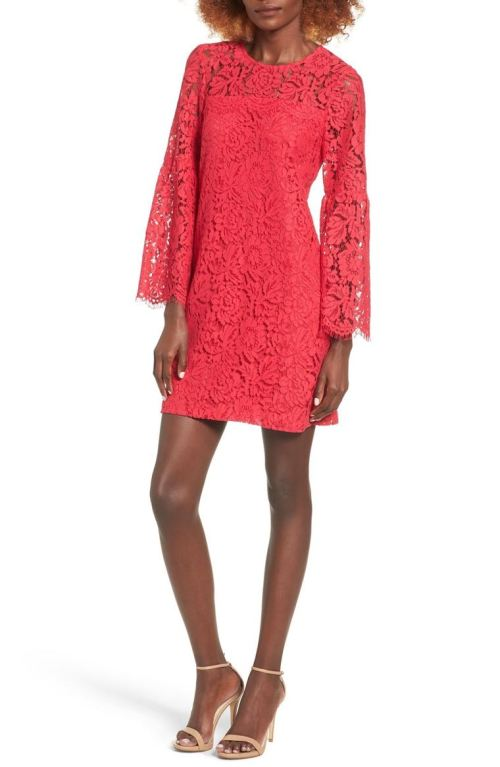 devlin Cassie Lace Shift Dress Bell Sleeves Ruby 2017 Nordstrom winter sale