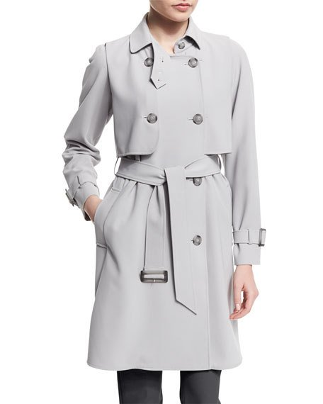 Armani Collezioni Cavalry Double-Breasted Trenchcoat Pearl Gray  top trench coats spring 2017