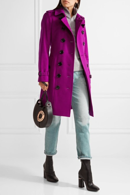 BURBERRY The Sandringham cashmere trench coat violet cashmere trench coats spring 2017