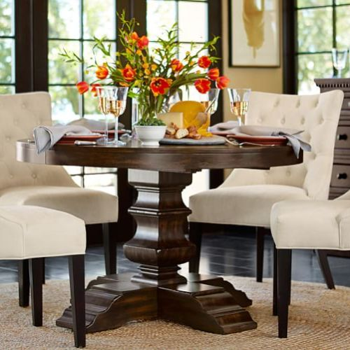 Pottery Barn BANKS EXTENDING PEDESTAL DINING TABLE Alfresco Brown Finish pedestal dining tables