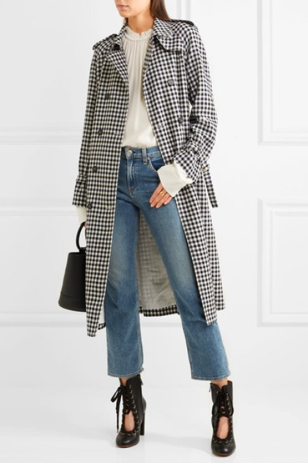 SONIA RYKIEL Checked wool-crepe trench coat black white trench coats spring 2017