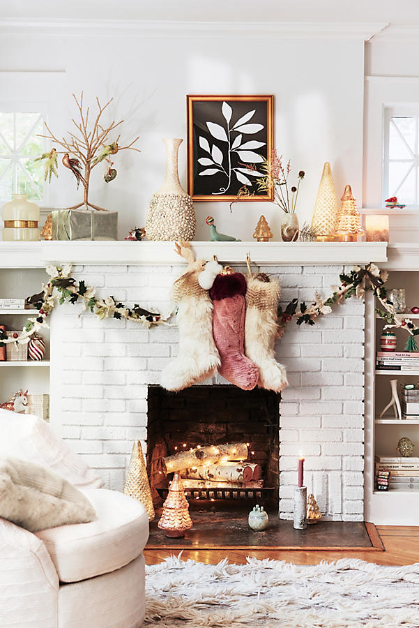 2017 Anthropologie Holiday Home Sale  20  Off Bedding  Holiday     Colorful Faux Fur Stocking Rose anthropologie holiday home sale