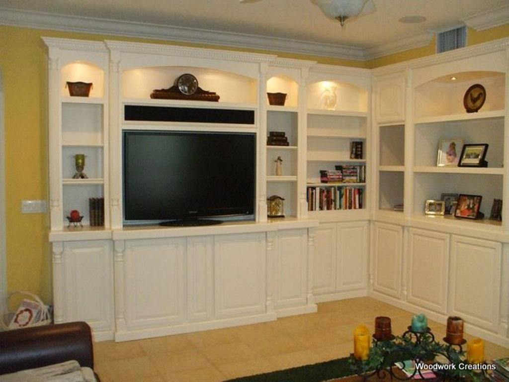 Custom Corner Built In Wall Unit In White Lacquer C