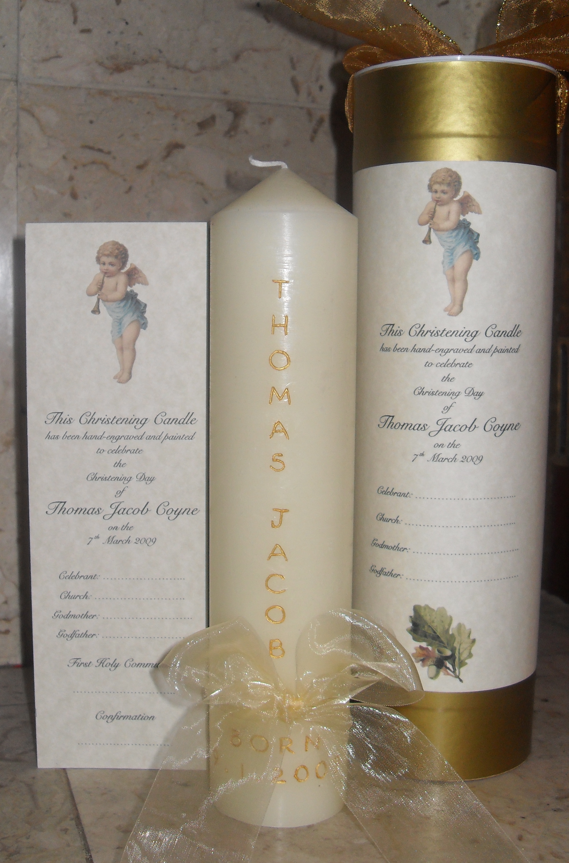 Christening Candle with presentation box and personalised card