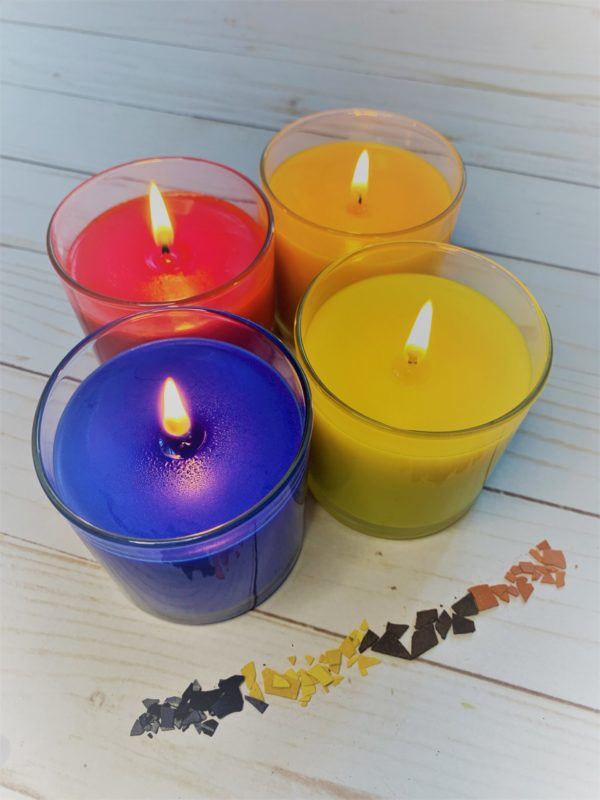 wax dye chips for red yellow and blue candles