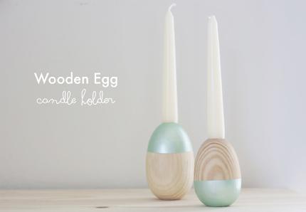 Wooden Egg Candle Holder