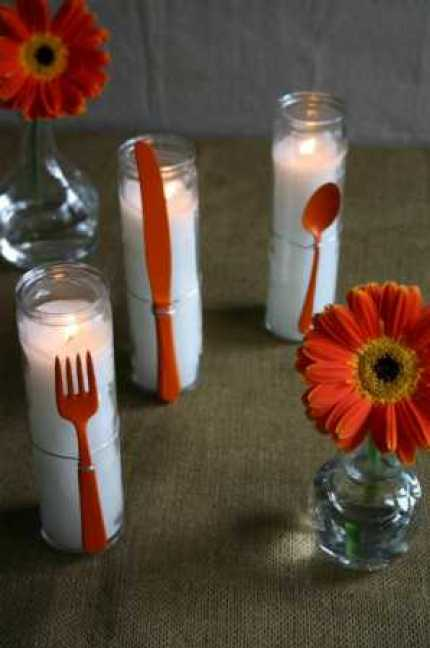 Painted Flatware Candles