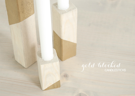 Gold Colorblock Candlestick Holders