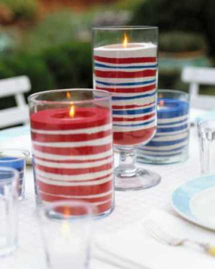 Easy Patriotic Sand Candles