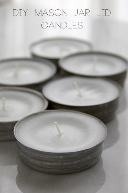Vintage Mason Jar Lid Candles
